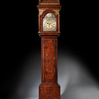 The 10.12ft 18th Century George I Bur/Burl Walnut Month Longcase Clock by James Markwick