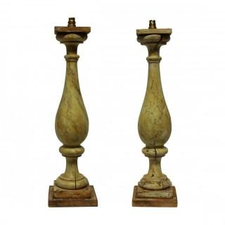 A PAIR OF LARGE XIX CENTURY BALUSRADE LAMPS