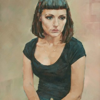 'Young Woman with crossed Hands' by Simon Davis (born 1968)