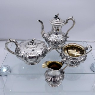 Mid 19th Century Antique Victorian Sterling Silver 4 piece Tea & Coffee Set London 1848 John S Hunt