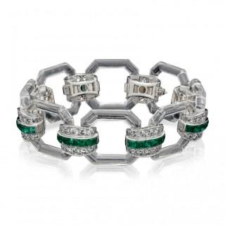 Art Deco Bracelet in Rock Crystal, Emerald & Diamond by Hennell 1929