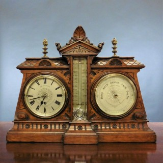 Victorian Desk Clock / Barometer / Thermometer Set