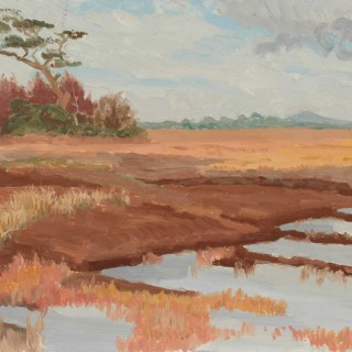 'Flooded cut-away Bog and trees, Autumn, near Clonbrock, County Galway' by Luke Dillon-Mahon (1917-1997)