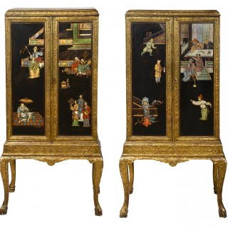 Pair of Queen Anne style Chinoserie Lacquer cabinets on stands.