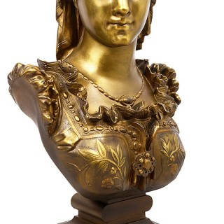 Classical 19th Century Bronze bust of a maiden.