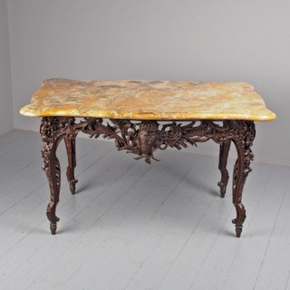 Victorian French Carved Fruitwood and Marble Top Console Table