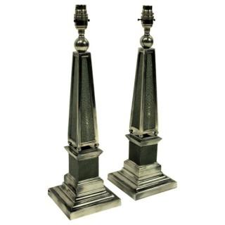 PAIR OF SILVER & SHAGREEN OBELISK LAMPS