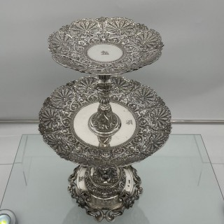 Mid 19th Century Antique Victorian Sterling Silver Suite Comports London 1862 Robert Garrard