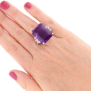 47.20ct Amethyst and 2.28ct Diamond, Platinum Cocktail Ring - Vintage Circa 1950