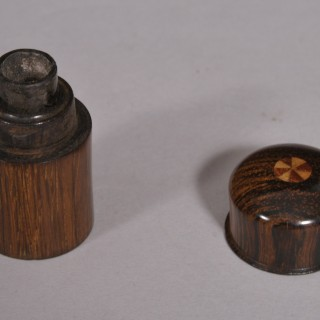 Antique Treen 19th Century Pocket Rosewood Travelling Ink Well
