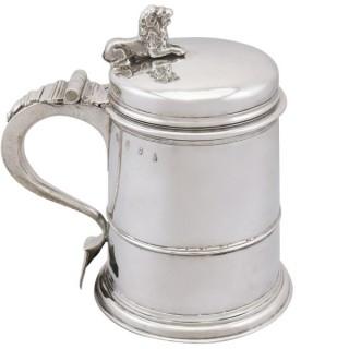 Britannia Standard Silver Quart Tankard - Antique Queen Anne (1704)