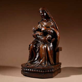 A Charming Maria Lactans Sculpture Continental Early 18th Century