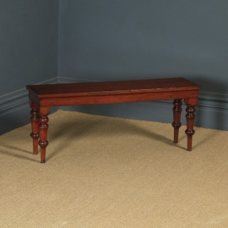 Antique English Victorian Mahogany Window / Hall Bench / Stool / Seat (Circa 1850)