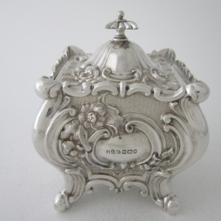 Antique Victorian Sterling Silver Locking Tea Caddy - 1894
