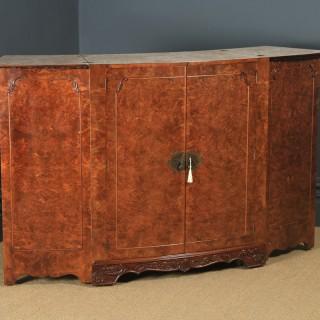Antique English Art Deco Burr Walnut Folding Cocktail Bar Drinks Bow Front Cabinet (Circa 1930)