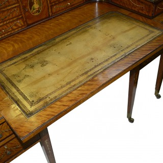 Sheraton revival Satinwood Carlton house desk, circa 1890