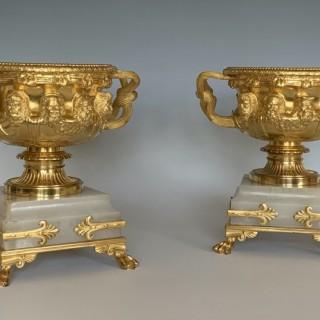 Fine Pair of Ormolu & Onyx Albani Vases by Georges Servant