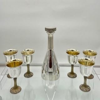 Modern Art Sterling Silver Wine Decanter Set London 1978 House of Lawrian