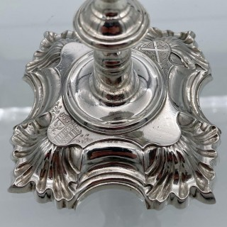 Antique George III Sterling Silver Set of Four Candlesticks London 1748 John Cafe