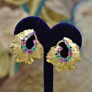 A very fine pair of Sapphire, Ruby & Emerald Earrings set in 18ct Yellow Gold, English, Circa 1980