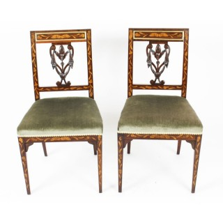 Antique Pair Dutch Marquetry Side Chairs c.1820 19th Century