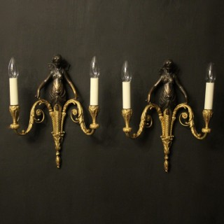 French Pair Of Gilt Bronze Antique Wall Sconces