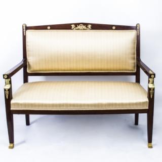 Antique French Empire Ormolu Mounted Mahogany Sofa c.1900