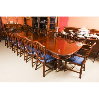 Antique 19th C Flame Mahogany Extending Dining Table & 14 chairs