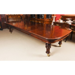 Antique William IV 14ft Flame Mahogany Extending Dining Table 19th C