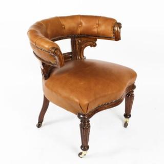 Antique Victorian Oak & Leather Desk Chair Tub Chair c.1880