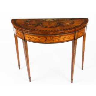 Antique George III Satinwood demi-lune Card Console Table 19th C