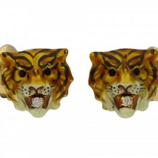 Diamond and enamel tiger cufflinks, American, circa 1970.
