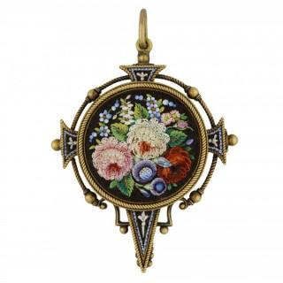 Victorian micro mosaic pendant, English, circa 1870.
