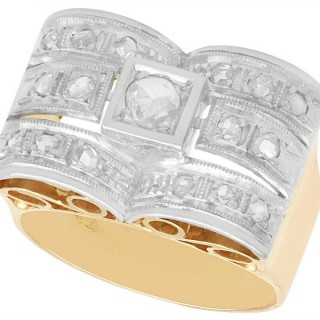 0.33 ct Diamond and 18 ct Yellow Gold Dress Ring - Art Deco - Vintage Circa 1940