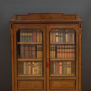 H. Ogden Victorian Pollard Oak Glazed Bookcase