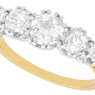 1.92 ct Diamond and 18 ct Yellow Gold Five Stone Ring - Vintage Circa 1940
