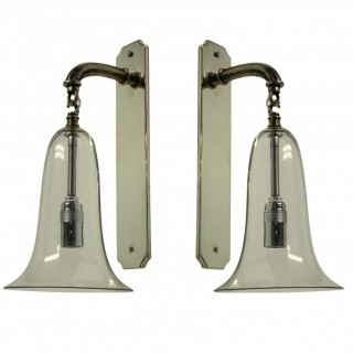 A PAIR OF 1920'S GLASS BELL SCONCES