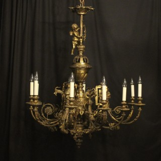 French Gilded Bronze 12 Light Antique Chandelier