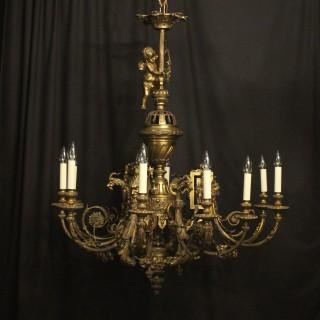 French Gilded Bronze 12 Light Antique Chandelier
