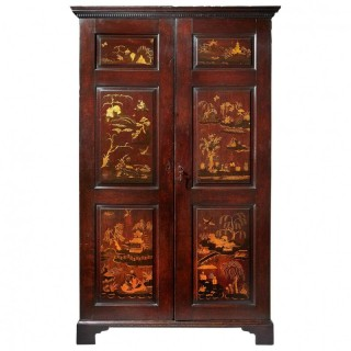 18th Century George III Chinoiserie Japanned Wardrobe, Chippendale Period, C1770
