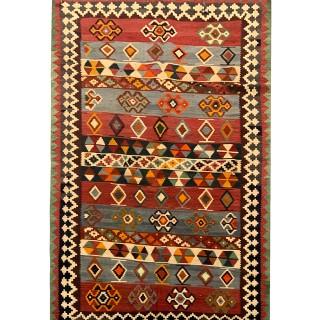 Persian Rug Handwoven Oriental Kilim Carpet  -112x203cm