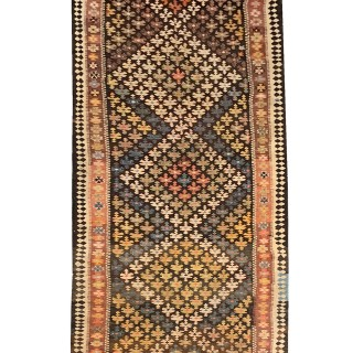 Early 20th Century Persian Carpet Flatwoven Kilim Rug UK- 126x370cm