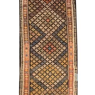 Early 20th Century Persian Carpet Flatwoven Kilim Rug UK- 126x370cm