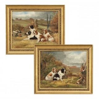 Pair of Oil Paintings Of Hunting Spaniels On Board