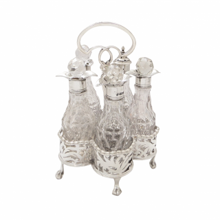 Antique Victorian Sterling Silver & Cut Glass Cruet Set 1900