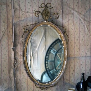 A Victorian Giltwood & Gesso Oval Wall Mirror c.1860-70