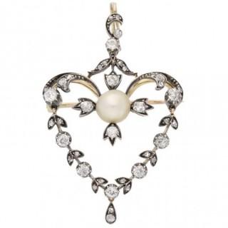 Antique natural pearl and diamond pendant, circa 1890.