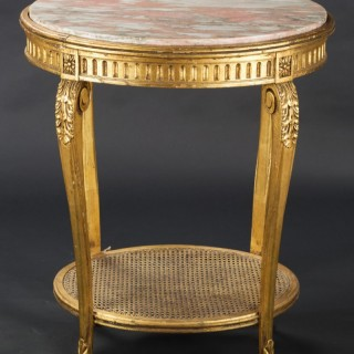 French Gilt Marble Side Table