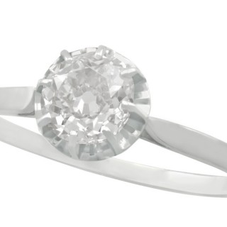 1.70 ct Diamond and 18 ct White Gold Solitaire Ring - Antique French Circa 1920
