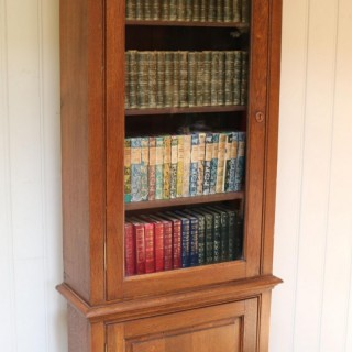 Rustic French Oak Glazed Cabinet Bookcase